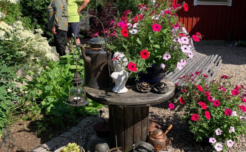 Karlstads Trädgårdssällskap besökte en trädgård i Vikersvik. Bilden virar en grann trädgård.